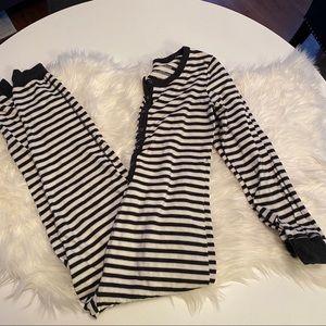 Adult black and cream striped onesie